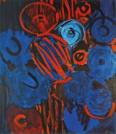 Figuration in Blau und Rot